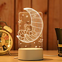 זול אורות נתיב-1pc אור תלת ממדי לבן חם USB יצירתי <=36 V