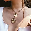 baratos Conjunto de Bijuteria-Mulheres colares em camadas Moeda Vintage Vitoriano cromada Dourado 37 cm Colar Jóias 1pç Para Diário Rua