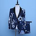 זול אקזוטי Dancewear-נייבי כהה מעוטר גזרה מחוייטת פוליאסטר חליפה - פתוח Single Breasted One-button