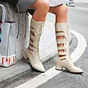 זול נעלי עקב לנשים-בגדי ריקוד נשים PU קיץ & אביב / אביב קיץ יום יומי / מִעוּטָנוּת מגפיים עקב עבה בוהן מחודדת שחור / בז' / חום