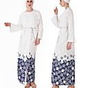 זול לבוש מסורתי ותרבותי-לבוש מסורתי ותרבותי Abaya בגדי ריקוד נשים לבוש יומיומי פוליאסטר דוגמא \ הדפס שרוול ארוך עבאיה