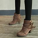 halpa Naisten saappaat-Naisten Bootsit Paksu korko Pyöreä kärkinen Soljilla Mikrokuitu Nilkkurit Vintage Syystalvi Musta / Vaalean keltainen / Ruskea