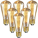 halpa Polun valot-6kpl 60 W E26 / E27 ST64 Lämmin valkoinen 2200-2300 k Retro / Himmennettävissä / Koristeltu Himmennetty Vintage Edison-hehkulamppu 220-240 V