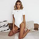 זול חלוקי אמבט-לבן S M L אחיד, בגדי ים חלק אחד (שלם) נועזת לבן ספורטיבי בסיסי בגדי ריקוד נשים