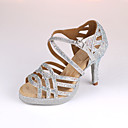 hesapli Latin Dans Ayakkabıları-Kadın's Sentetikler Latin Dans Ayakkabıları Topuklular İnce Topuk Kişiselleştirilmiş Gümüş / Mavi
