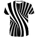 お買い得  スキーヘルメット-男性用 プリント Tシャツ ストリートファッション / パンク&ゴシック ラウンドネック ストライプ / カラーブロック ブラック / 半袖