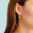 זול עגילים אופנתיים-בגדי ריקוד נשים עגילים צמודים גיאומטרי מאונך מסוגנן רומנטי אלגנטית עגילים תכשיטים זהב עבור Party יומי עבודה זוג 1
