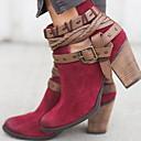 hesapli Kadın Botları-Kadın's Çizmeler Kalın Topuk Yuvarlak Uçlu Süet Bootiler / Bilek Botları İlkbahar & Kış Siyah / Şarap / Gri