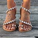 hesapli Kadın Sandaletleri-Kadın's Sandaletler Düz Taban Yuvarlak Uçlu Toka PU İlkbahar & Kış Haki