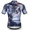 זול כיסויים-21Grams 3D תאורה בגדי ריקוד גברים שרוולים קצרים חולצת ג'רסי לרכיבה - שחור אופניים ג'רזי צמרות נושם פתילת לחות ייבוש מהיר ספורט פוליאסטר אלסטיין רכיבת הרים רכיבת כביש ביגוד / מיקרו-אלסטי
