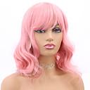 halpa Synteettiset peruukit ilmanmyssyä-Synteettiset peruukit Laineita / Runsaat laineet Tyyli Otsatukka Suojuksettomat Peruukki Vaaleanpunainen Pinkki Synteettiset hiukset 18 inch Naisten Muodikas malli / Party / Naisten Vaaleanpunainen