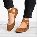 זול נעלים שטוחות לנשים-בגדי ריקוד נשים שטוחות שטוח בוהן עגולה PU קיץ & אביב שחור / חום כהה / חום