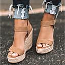 hesapli Kadın Sandaletleri-Kadın's Sandaletler Dolgu Topuk Açık Uçlu PU Günlük Yaz Siyah / Deve / Leopar