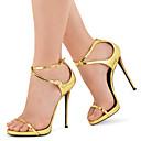 hesapli Kadın Sandaletleri-Kadın's Sandaletler Stiletto Topuk Açık Uçlu Toka Suni Deri Minimalizm Sonbahar / İlkbahar yaz Altın / Parti ve Gece