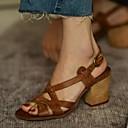 cheap Necklaces-Women's Sandals Chunky Heel PU(Polyurethane) Summer Gray / Brown / Almond