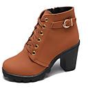 hesapli Kadın Botları-Kadın's Çizmeler Kalın Topuk Yuvarlak Uçlu PU Bootiler / Bilek Botları Vintage Yürüyüş İlkbahar yaz / Sonbahar Kış Ordu Yeşili / Siyah / Kahverengi