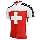 povoljno Biciklističke majice-21Grams Switzerland Državne zastave Muškarci Kratkih rukava Biciklistička majica - Red / White Bicikl Majice UV otporan Prozračnost Ovlaživanje Sportski Terilen Brdski biciklizam biciklom na cesti