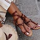 hesapli Kadın Sandaletleri-Kadın's Sandaletler Düz Taban Yuvarlak Uçlu PU Yaz Siyah / Kahverengi / Haki