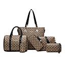 povoljno Komplet torbi-Žene Uzorak / print / Patent-zatvarač Platno / PU Bag Setovi Geometrijski uzorak 6 kom Crn / Braon / Red / Jesen zima