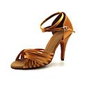 hesapli Latin Dans Ayakkabıları-Kadın's Dans Ayakkabıları Saten Latin Dans Ayakkabıları Kurdele Bağcık Topuklular İnce Topuk Kişiselleştirilmiş Açık Kırmızı / Badem / Koyu Kahverengi / Performans / Deri / Egzersiz