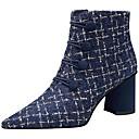 hesapli Kadın Botları-Kadın's Çizmeler Kalın Topuk Sivri Uçlu Polyester / Yün Kış Siyah / Mavi