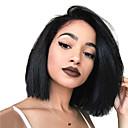 povoljno Perike s ljudskom kosom-Ljudska kosa Full Lace Perika Pixie frizura Stražnji dio stil Brazilska kosa Ravan kroj Crna Perika 130% Gustoća kose Žene Žene Dug Perike s ljudskom kosom Clytie
