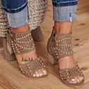 hesapli Kadın Sandaletleri-Kadın's Sandaletler Kalın Topuk Yuvarlak Uçlu Toka PU Yaz Siyah / Mavi / Haki