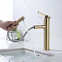 Недорогие Для умывальника-Ванная раковина кран - Вытяжная лейка Матовое золото По центру Одной ручкой одно отверстиеBath Taps