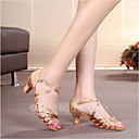povoljno Cipele za latino plesove-Žene Plesne cipele Saten Cipele za latino plesove / Cipele za salsu Kopča Sandale Potpetica po mjeri Moguće personalizirati Srebrna / Smeđa / Zlatna / Seksi blagdanski kostimi / Koža / EU40