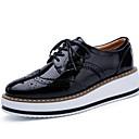 זול סניקרס לנשים-בגדי ריקוד נשים נעלי ספורט שטוח בוהן עגולה עור קיץ שחור / שקד / לבן