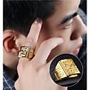 povoljno Muško prstenje-Muškarci Pečatni prsten 1pc Zlato 18K Gold Geometric Shape Azijski Moda Hip Hop Dnevno Večer stranka Jewelry Sa stilom Graviranog Orao obiteljski grb Cool