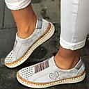 זול מוקסינים לנשים-בגדי ריקוד נשים נעליים ללא שרוכים שטוח בוהן עגולה PU קיץ שחור / Wine / לבן
