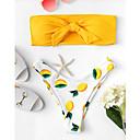 halpa Kuntoilu-, juoksu- ja joogavaatetus-Naisten Perus Keltainen Bandeau Pikkutuhmat Bikini Uima-asut - Geometrinen Painettu S M L Keltainen