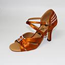 povoljno Cipele za latino plesove-Žene Plesne cipele Saten Cipele za latino plesove Kristalni detalji / Crystal / Rhinestone Štikle Kubanska potpetica Moguće personalizirati Braon
