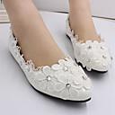 hesapli Göz Farları-Kadın's Düğün Ayakkabıları Düz Taban Kapalı Burun Işıltılı Pullar / Dikişli Dantel Dantel / PU Tatlı İlkbahar & Kış Beyaz