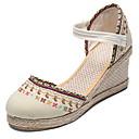 hesapli Kadın Topukluları-Kadın's Düz Ayakkabılar Dolgu Topuk Yuvarlak Uçlu Örümcek Ağı Bahar Siyah / Bej