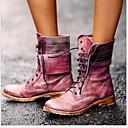 זול מגפי נשים-בגדי ריקוד נשים מגפיים שטוח בוהן עגולה PU מגפיים באורך אמצע - חצי שוק חורף חום / אדום / כחול