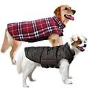 povoljno Odjeća za psa-Pas Kaputi Mellény Odjeća za psa Plaid / Check Braon Zelen Crvena Pamuk Kostim Za Proljeće & Jesen Zima Muškarci Žene Ugrijati Dvostrano