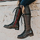 povoljno Ženske čizme-Žene Čizme Niska potpetica Trg Toe PU Čizme do koljena Jesen zima Crn / Braon