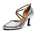 זול נעלי ריקודים ונעלי ריקוד מודרניות-בגדי ריקוד נשים נעלי ריקוד עור נעליים מודרניות עקבים עקב רחב מותאם אישית זהב / כסף