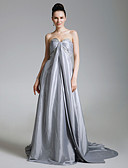 cheap Prom Dresses-A-Line / Princess Strapless / Sweetheart Neckline Court Train Taffeta Open Back / Celebrity Style Formal Evening Dress with Beading / Side Draping by TS Couture®