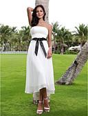 olcso Menyasszonyi ruhák-A-vonalú Pánt nélküli Tea-hossz Sifon Made-to-measure esküvői ruhák val vel Pántlika / szalag által LAN TING BRIDE® / Kis fehér szoknyák