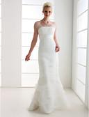 baratos Vestidos de Casamento-Sereia Correias Longo Organza / Tule Vestidos de casamento feitos à medida com Saia com Pregas em Cascata / Cruzado de LAN TING BRIDE®
