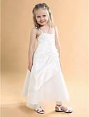 Χαμηλού Κόστους Λουλουδάτα φορέματα για κορίτσια-Γραμμή Α Μακρύ Φόρεμα για Κοριτσάκι Λουλουδιών - Σατέν / Τούλι Αμάνικο Λεπτές Τιράντες με Διακοσμητικά Επιράμματα / Πλαϊνό ντραπέ / Λουλούδι με LAN TING BRIDE® / Άνοιξη / Καλοκαίρι / Φθινόπωρο