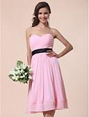 cheap Bridesmaid Dresses-A-Line / Ball Gown Strapless / Sweetheart Neckline Knee Length Chiffon Bridesmaid Dress with Draping / Sash / Ribbon / Criss Cross by LAN TING BRIDE®