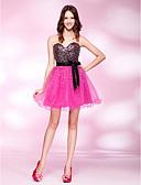 זול שמלות קוקטייל-נסיכה סטרפלס קצר \ מיני טול / סאטן נמתח / נצנצים גב פתוח מסיבת קוקטייל שמלה עם חרוזים / סרט על ידי TS Couture®