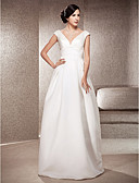 cheap Wedding Dresses-A-Line V Neck Floor Length Satin Made-To-Measure Wedding Dresses with Draping by LAN TING BRIDE®
