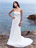cheap Wedding Dresses-Sheath / Column Strapless Chapel Train Chiffon Made-To-Measure Wedding Dresses with Side-Draped by LAN TING BRIDE®