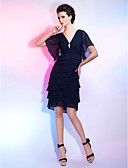 cheap Evening Dresses-Sheath / Column V Neck Knee Length Chiffon Little Black Dress Cocktail Party Dress with Crystal Brooch / Ruched by TS Couture®