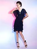 billige Ballkjoler-Tube / kolonne V-hals Knelang Chiffon Liten svart kjole Cocktailfest Kjole med Krystallbrosje / Bølgemønster av TS Couture®